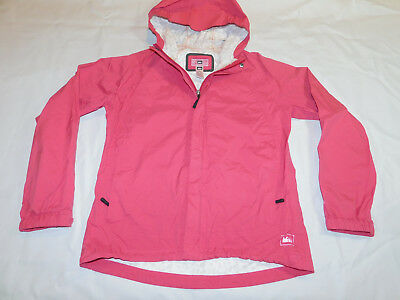 REI ULTRA LIGHT RAIN JACKET ELEMENTS 1 SHELL SEALED SEAMS HOOD PINK GIRL'S XL 18