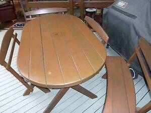 Large western red cedar table and 4 chairs Tempe Marrickville Area Preview