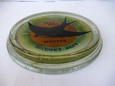 """Vintage Blue Bird Toffees Advertising Glass Ashtray Britain'S Best Collectibl"""" F"""