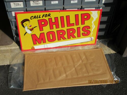 PHILIP MORRIS EMBOSSED CIGARETTE METAL SIGN NEW OLD STOCK STOUT SIGN CO