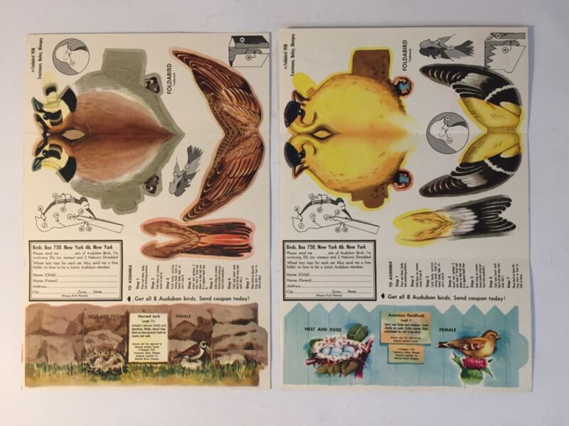 Vintage 1958 Nabisco Cereal-Audubon Foldabird--Goldfinch & Horned Lark-MINT Cond