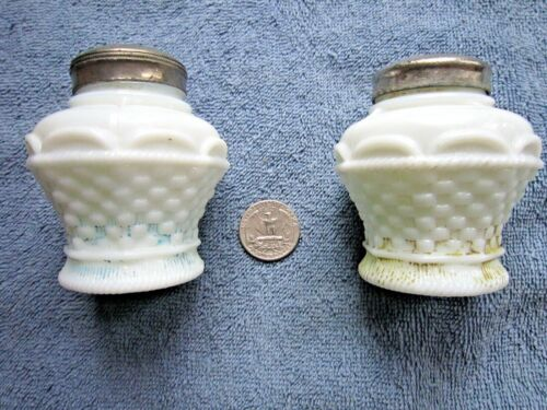 PAIR OF ANTIQUE MILK GLASS SALT & PEPPER SHAKERS