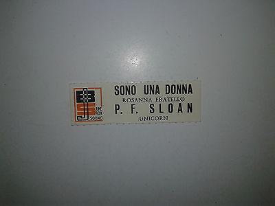 Unicorn - Rosanna Fratello – P.F. Sloan  - Stickers Etichetta Per Juke Box