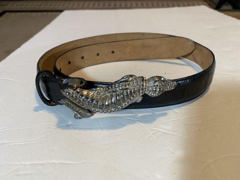 Brighton 36 Inch Aligator Belt, Leather Belt And Metal Buckle Vintage 1995