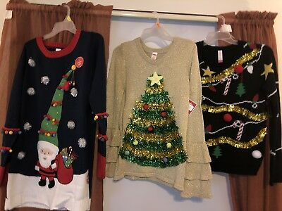 NWT Womens Ugly Christmas Sweaters, Santa Gnome Tree Tinsel Pick Size - Woman Ugly Christmas Sweater