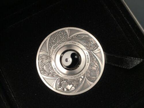 2016 $1 Tuvalu Yin Yang 1oz 99.9% Silver Antiqued Coin (Australia Perth Mint Art