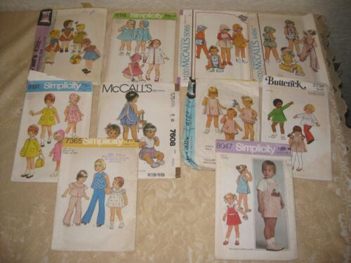 10 VINTAGE CHILDRENS PATTERNS TODDLER SIZE 1/2 CUT 1970S 80S NOT CHECKED lot 3