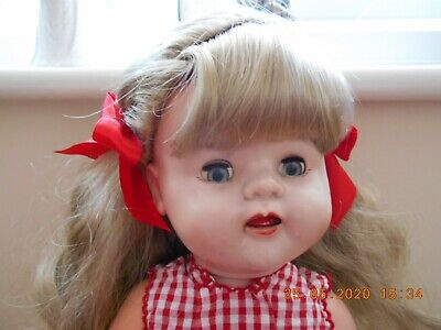Vintage 1950s BND London 22 in Hard Plastic Walker Doll With Working Mama FAB !