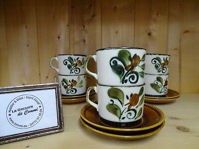 6 tasses à café + sous tasses Argenteuil Boch Frères