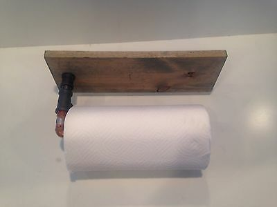 Industrial Copper paper towel holder with spice rack (Pick your own stain)