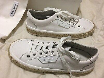 NIB Dolce & Gabbana White Low Top Canvas Leather Raffia Trim Sneakers Shoes $795