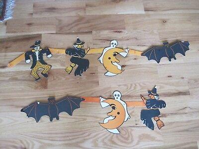 HALLOWEEN Paper Decoration Garland Japan 7 Bat Ghost Witch Scarecrow Vintage