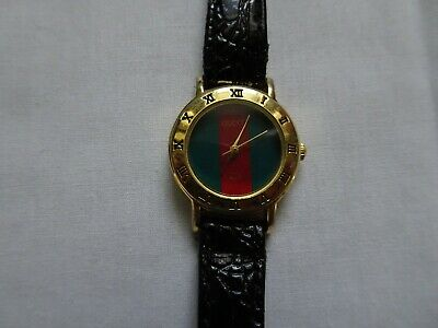 gucci ladies quartz vintage green and red stripe watch leather strap