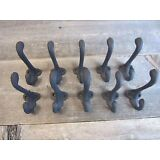 "10 Cast Iron Black School Style Coat Hooks Hat Hook Hall Tree Restoration 3 1/4"""