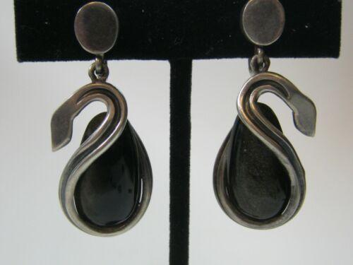 "Antonio Pineda Taxco Mexican Silver & Obsidian ""Swan"" Earrings Featured in Book"