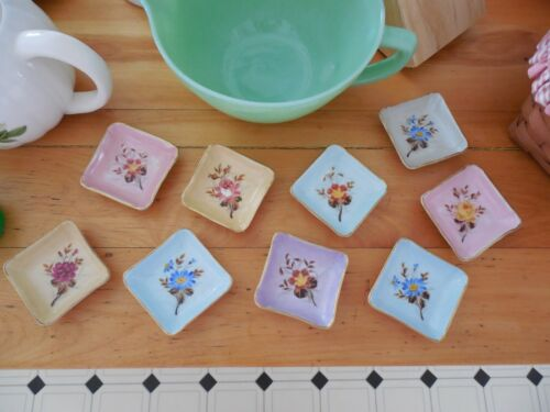 """Seven (7) Darling Floral Butter Pats 2 3/4"""" Square With Gold Trim """"1569"""""""