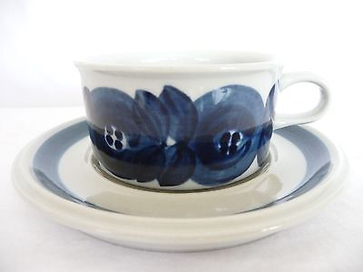 Vintage Arabia Finland Anemone Blue & White Tea Cup & Saucer Mid Century Modern