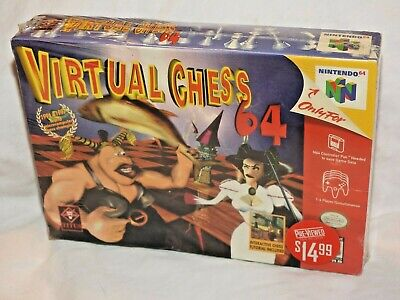 N64 Virtual Chess 64 CIB W Box Protector Nintendo 64 Resealed Blockbuster 2001