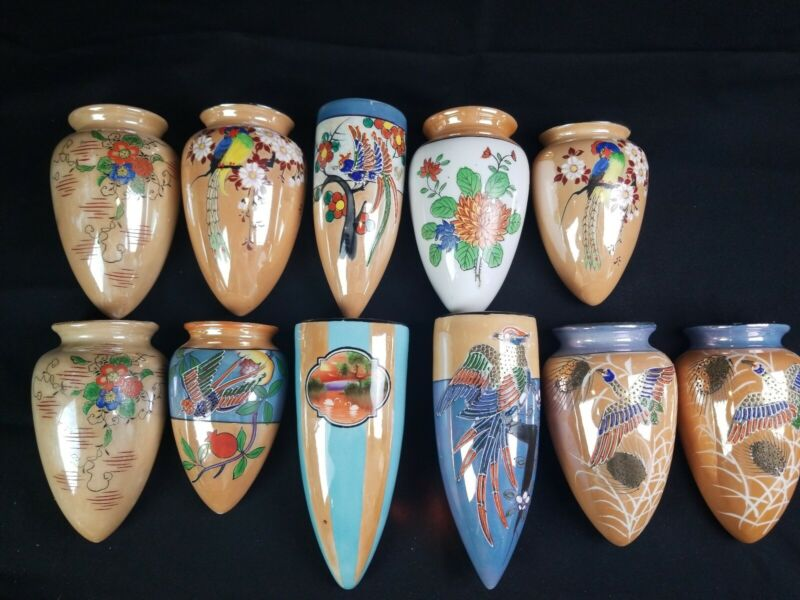 Collection Of 11 Vintage Japanese Hand Painted Wall Pocket Vases