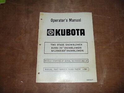 Kubota B2551 51 Two 2 Stage Snowblower Owner Operator Maintenance Manual