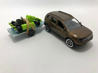 Majorette DACIA DUSTER Model Brown with green go kart Set Cars Diecast No box, used for sale  Shipping to United States
