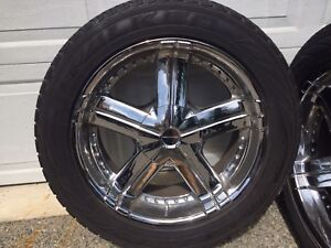 KMC Polished Aluminum Rims c/w Falcon 265/50R20 M+S Tires