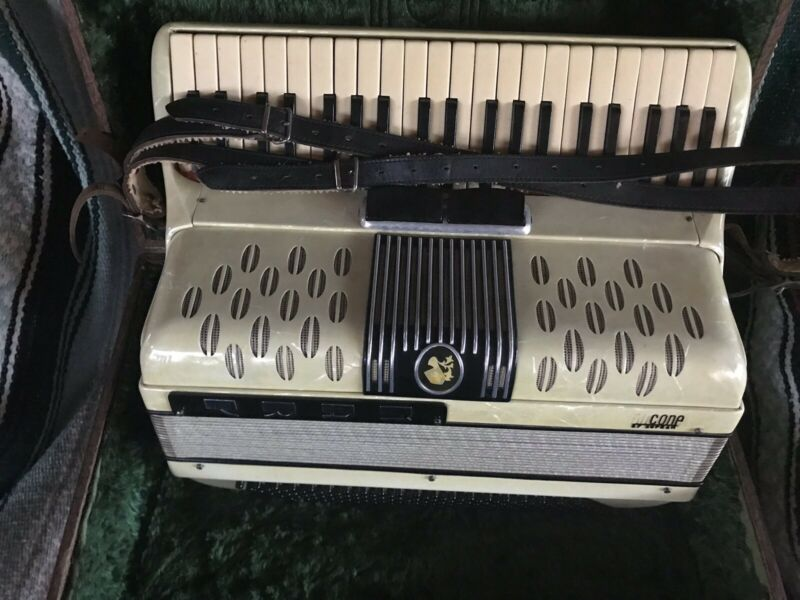 Vintage Ancona Accordion  made in Italy rare Cream mother of pearle old W/case!