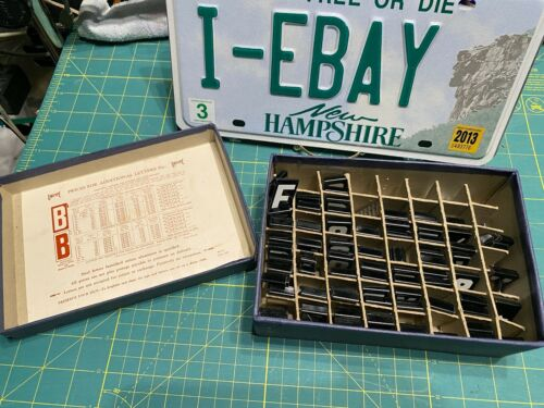 """Lot 200+ Vintage Hanging Metal sign Letters & # Black White Unitype 1.5"""" w/box"""