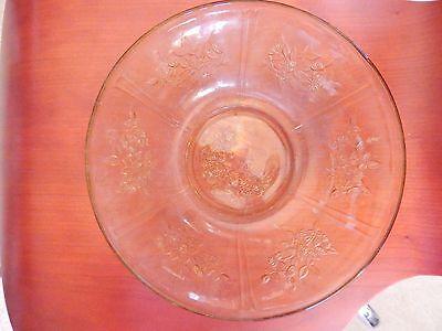 """Vintage Depression Glass Amber 8.5"""" SERVING BERRY BOWL.. Sharon Cabbage Rose"""
