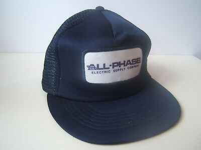 All Phase Electric Supply Company Patch Hat Vintage Blue Snapback Trucker Cap