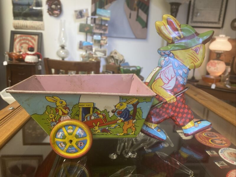 Vintage CHEIN TIN LITHO RABBIT PULLING CART CANDY CONTAINER - Easter Bunny
