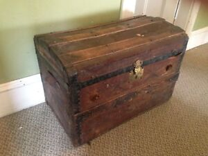 """Antique Wooden Dome Top Trunk, 30"""" x 18"""" x 21""""H"""