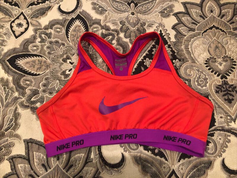 Nike Pro Sports Bra Girls Size XL Red Purple Logo VG Preowned