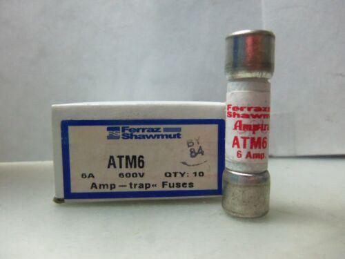 New Ferraz Shawmut ATM6 Amp Fuse Bussmann KTK 6 600 Volts (5 fuse Minimum)