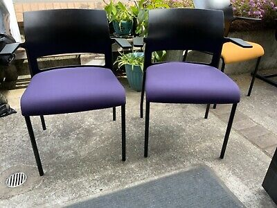 Steelcase Waiting Room Two Chairs - Purple Cloth Fabric No Stains