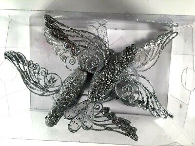 4 Silver Glitter Flying Birds Clip on Holiday Christmas Ornament Decoration