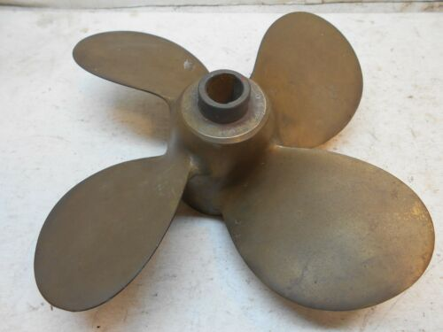 "Vintage AMC 674 4 blade brass boat motor prop 11-1/2"" wide for 3/4"" shaft"