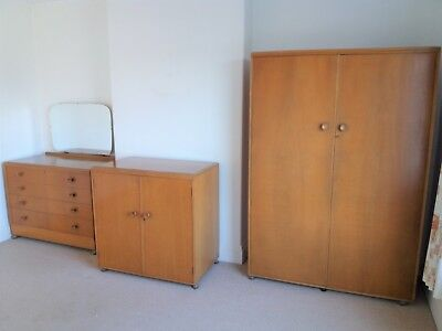 VINTAGE 3 PIECE BEDROOM SUITE WARDROBE TALLBOY CHEST OF DRAWERS