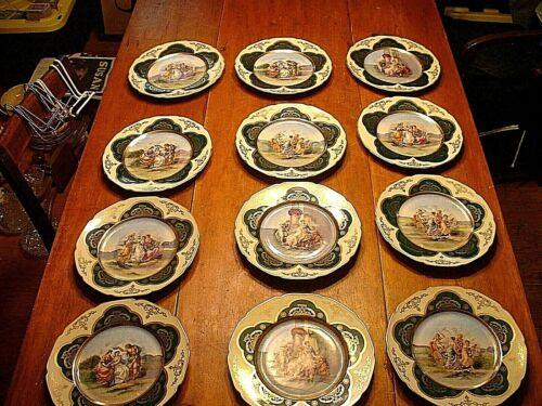 "RARE Set of 12 Antique Royal Vienna Waldershof German 10 1/2"" Cabinet Plates"