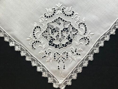 White Linen Dinner Napkins Punto Trafore Northern Italy Whitework Embroidery