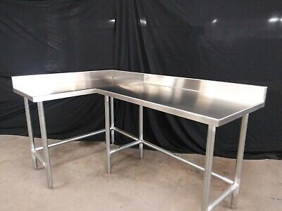 L-shape Stainless Steel Table 71 X 44 34 X 34 Tall