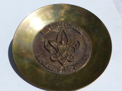 "Unused Vintage Far East Council Boy Scout BSA 9"" Diameter Brass Decorative Plate"