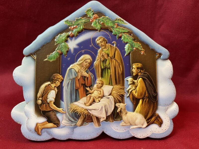 Holy Family Nativity Scene Gold/Trim Enamel Resin/Wood Plaque FARS Italy #8389