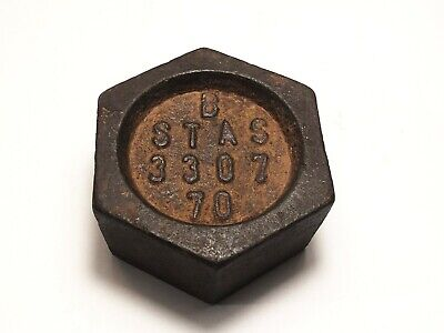 Vintage Romanian cast iron weight, scale 500g, hexagonal shape kitchen deco