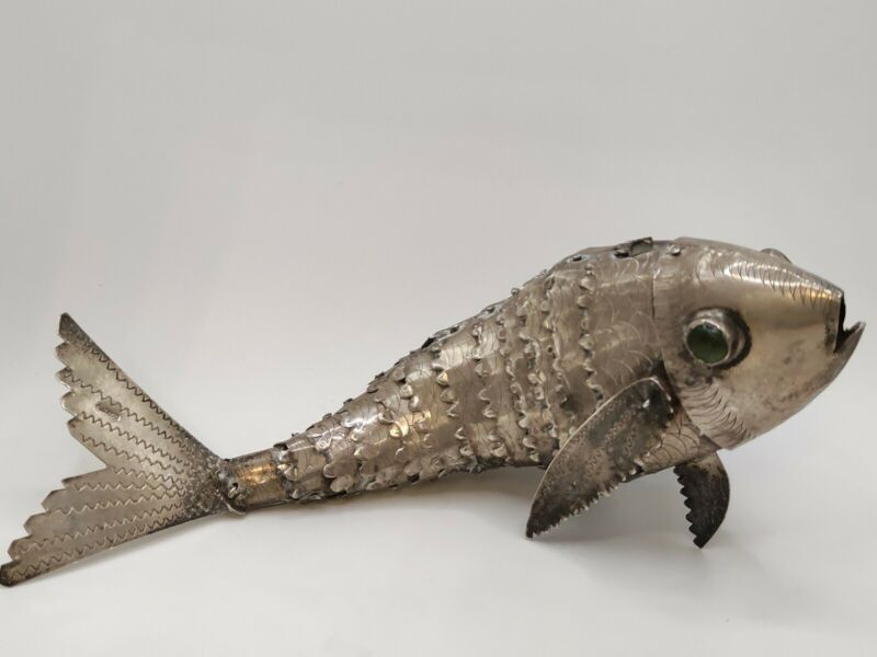 Large Novelty Solid Silver Articulated Carp Fish Model Figure