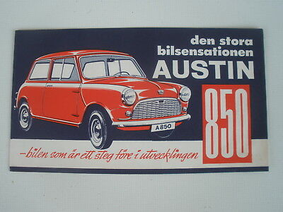 AUSTIN 850 MINI CIRCA 1959 ? SWEDISH SALES BROCHURE BMC  VERY GOOD ORIGINAL