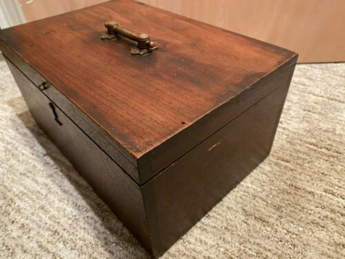 "Antique Box Large Mahogany Chest  12""by 8""by 6"""