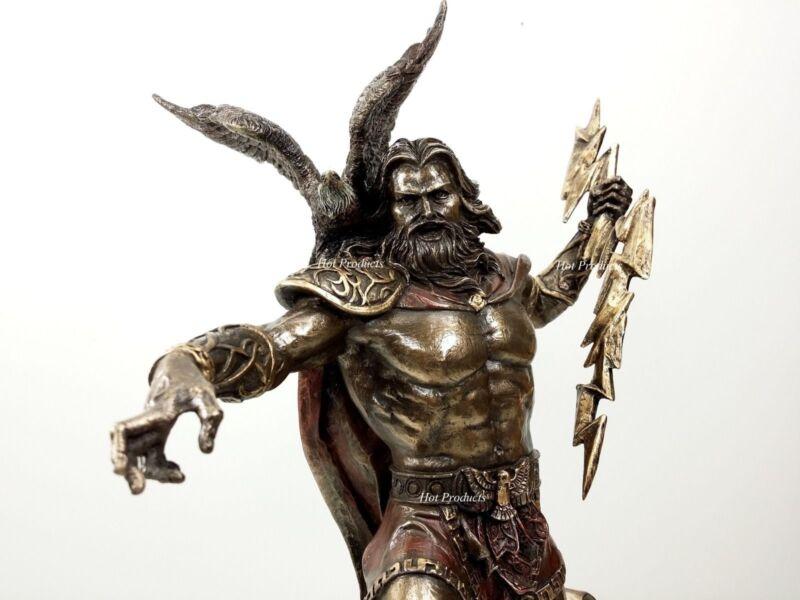 KING ZEUS GOD of THUNDER W Lightning Bolt GREEK MYTHOLOGY Statue Bronze Finish