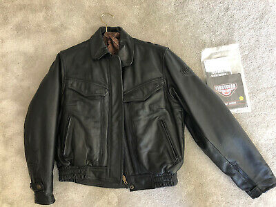 Hein Gericke First Gear Mens Lined Leather Motorcycle Black Leather Jacket 40 W