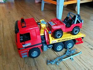 Bruder flatbed truck with Jeep